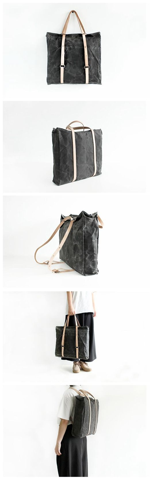 Canvas Tote Bag Leather Backpack Rucksack School Bag Handbag for Men & Women 14095 --------------------------------- - 16oz waxed canvas - Cotton lining - Inside one zipper pocket, one phone pocket, o