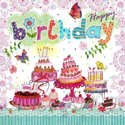 Verjaardagskaarten - Gefeliciteerd Taart Wolken Cupcake