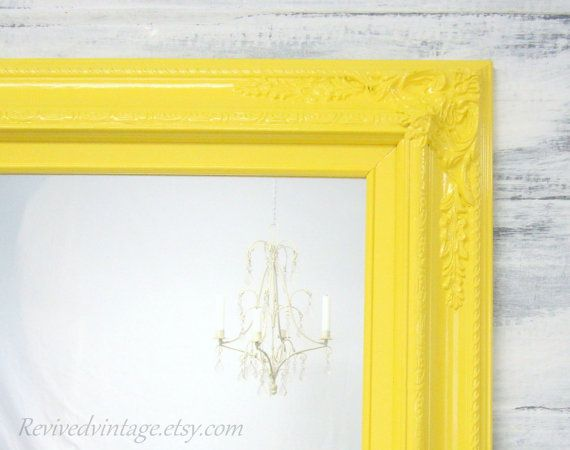 "ANY COLOR - Bright Yellow Framed Baroque Bathroom Vanity Mirror Baby Nursery Decor 27""x23"" Decorative Ornate Unique Mirror Rectangle on Etsy, $159.00"