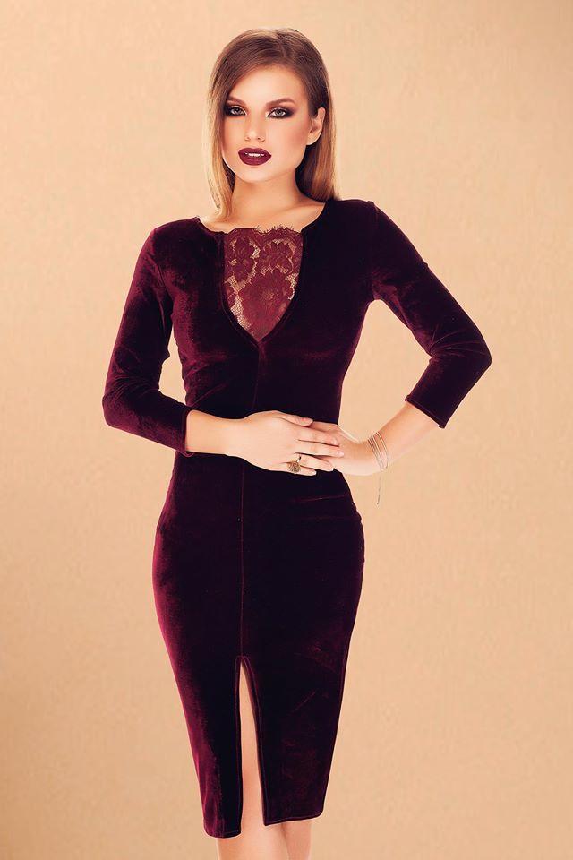 Elegant velvet dress in burgundy shades, with lace inserts: https://missgrey.org/en/dresses/midi-velvet-dress-in-burgundy-shades-with-lace-inserts-at-the-bust-olivia/427?utm_campaign=octombrie&utm_medium=rochie_olivia&utm_source=pinterest_produs