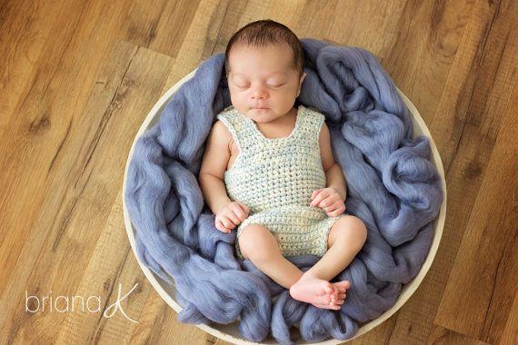 Simple Crochet Newborn Onsie/Romper by BrianaKcrochet on Etsy