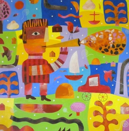 Mark  Warren Autumn Leaves - 2013 Acrylic on canvas 120 x 120 cm
