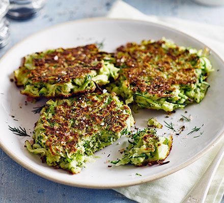Great #Breakfast Ideas -   Green fritters:  140g courgettes, grated 3 medium eggs 85g broccoli florets, finely chopped small pack dill, roughly chopped 3 tbsp gluten-free flour or rice flour 2 tbsp sunflower oil, for frying