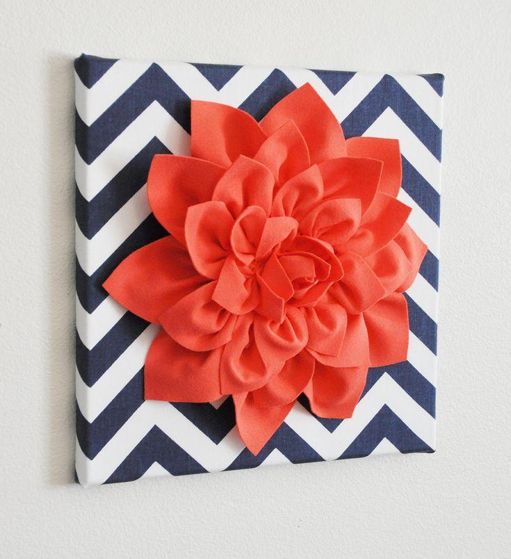 "Wall Flower -Coral Dahlia on Navy and White Chevron 12 x12"" Canvas Wall Art- 3D Felt Flower"