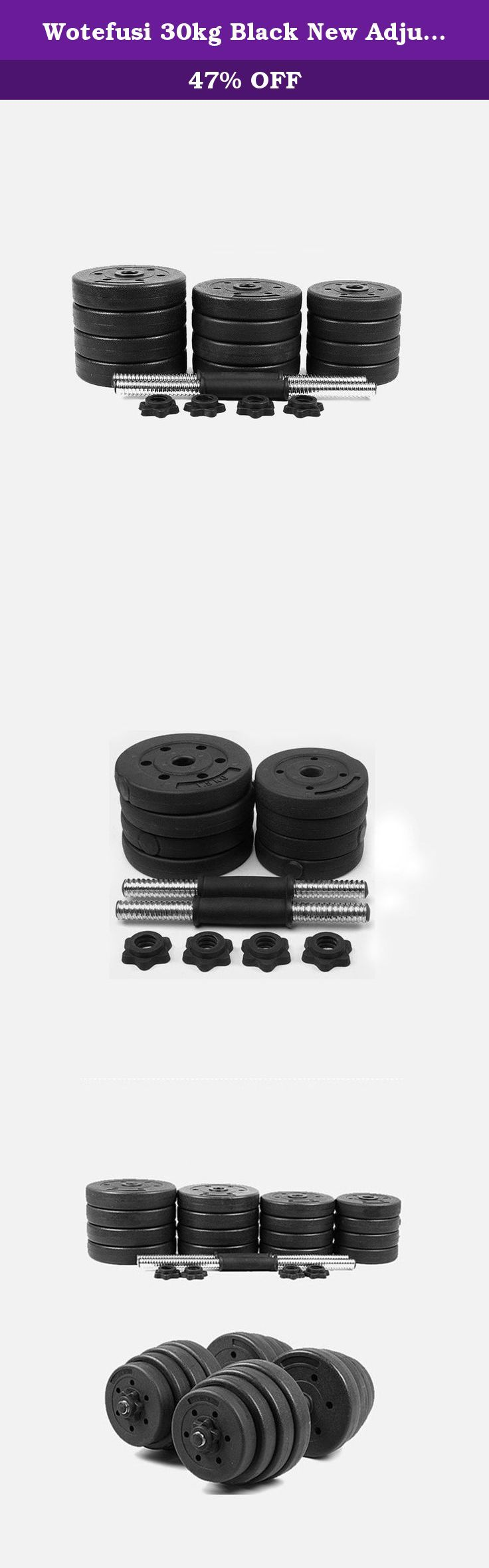 Wotefusi 30kg Black New Adjustable Dumbbells Set Weights Fitness Gym Exercise. Material: PE Package details: 10kg set: 8x Standard Plates,4x Spin Lock(star collors),2x dumbbell handles 15kg set: 8x Standard Plates,4x Spin Lock(star collors),2x dumbbell handles 20kg set: 12x Standard Plates,4x Spin Lock(star collors),2x dumbbell handles 30kg set: 16x Standard Plates,4x Spin Lock(star collors),2x dumbbell handles .