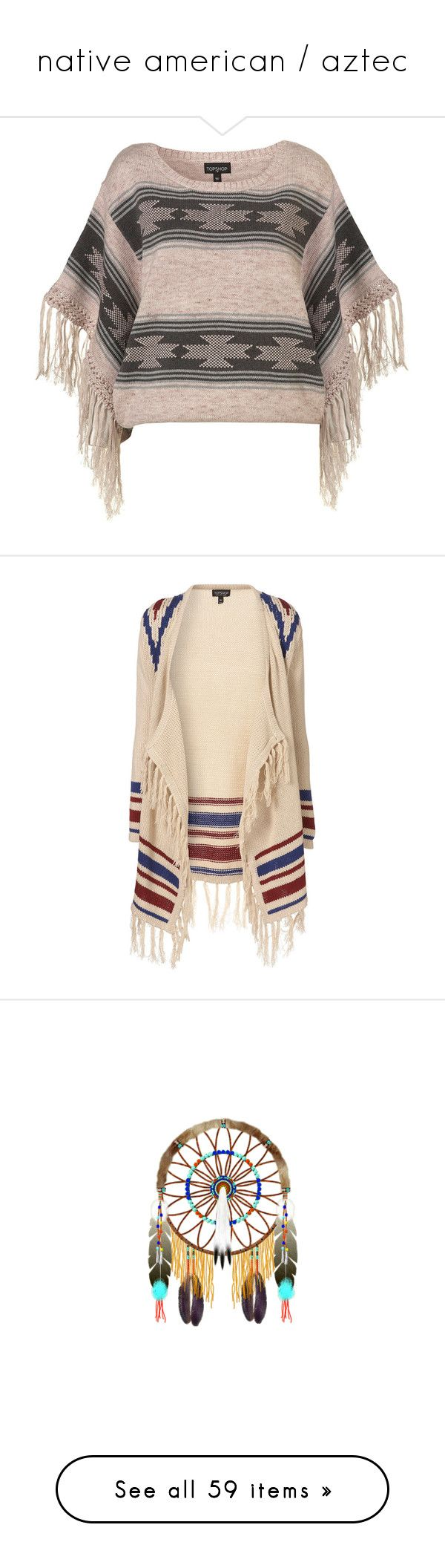 """""""native american / aztec"""" by peacepod ❤ liked on Polyvore featuring tops, shirts, sweaters, blusas, women, brown shirts, cotton shirts, tassel top, shirt top and brown top"""