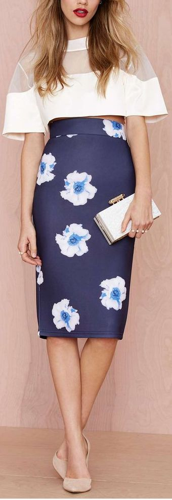 ♥ blue floral skirt  women fashion outfit clothing style apparel @roressclothes closet ideas