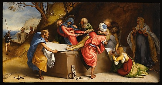 "Lorenzo Lotto - ""The Entombment"" - Date: 1513–16; Medium: Oil on wood; Dimensions: 20 1/16 x 38 1/8 in. (50.9 x 96.8 cm); Classification: Paintings; Credit Line: Accademia Carrara, Bergamo. Acquired from the Church of San Bartolomeo, Bergamo, 1893. Metropolitan Museum of Art."