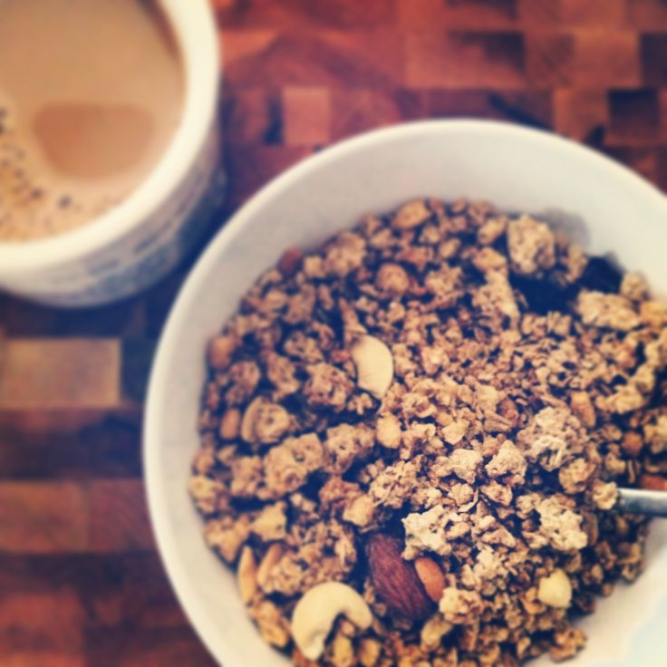 a fair way to start your day :)  #NuTerra #Granola #Breakfast #cereal #Coffee #Nuts #Raisins