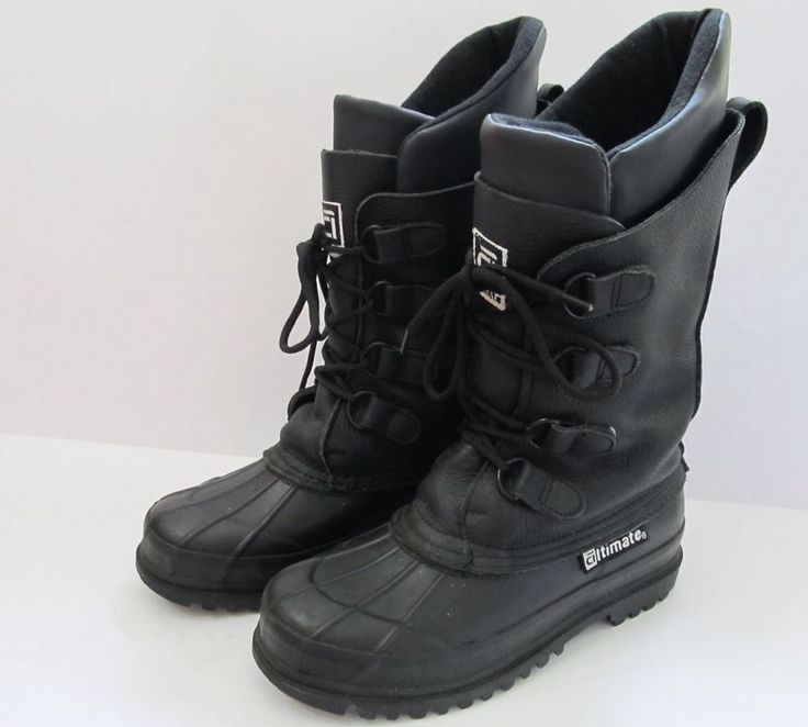 Snowmobile Boots Black Leather, Rubber Altimate Insulated Snow Winter Mens US 5 #Altimate