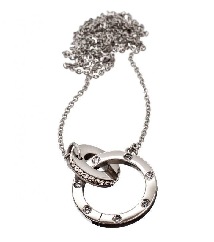 Ida necklace Featuring 2 stainless steel entwined rings with Cubic Zirconia gemstones Diameter 15 and 25mm, length of chain 82 cm
