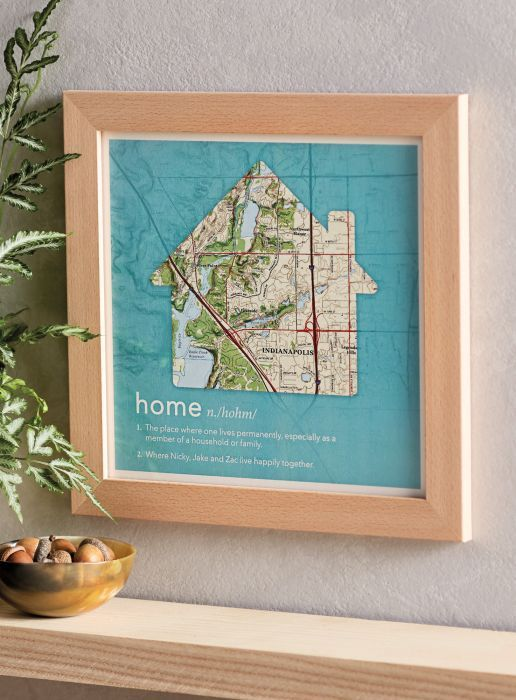 Home Is... Personalized Framed Print - Fill in the blank: Home is where your ____ is. If you said heart, you're right. If you said family, dog, best friend, or bottle cap collection, you're also right. Define it however you like, and celebrate it with this custom map artwork featuring your chosen location anywhere in the US.
