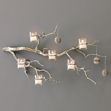 gorgeous branch candle holder really desperately want to find a few BIG branches iwth little branches like in this pic so I can put three or four in B's room around the ceiling with birds hanging on them instead of ornaments