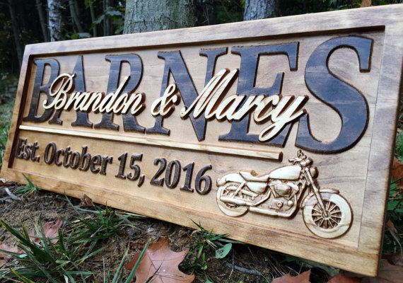 Personalized Motorcycle Gifts Wedding Sign Harley Davidson S Gift Custom Wood Last Name
