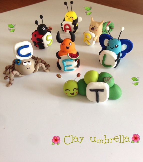 Polymer clay cake topper Alphabet Bugs by ClayUmbrellaa on Etsy