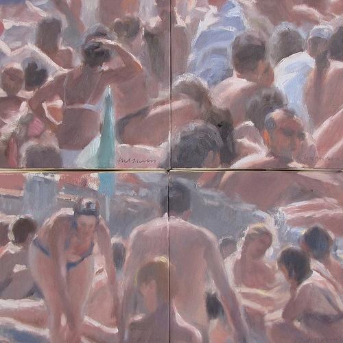 Bagnanti. Composizione olio su tela. cm 40x40 #art #paintings