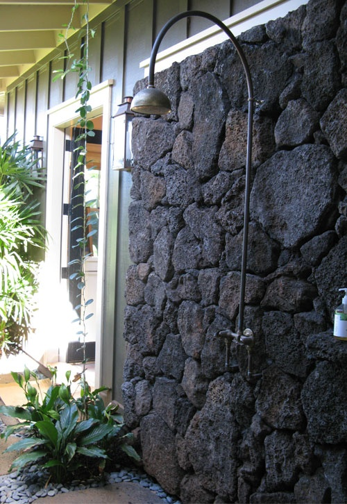 Outdoor Shower Love The Volcanic Rock Wall House On
