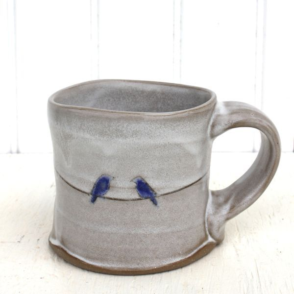 blue birds mug : Two Potters : handmade pottery