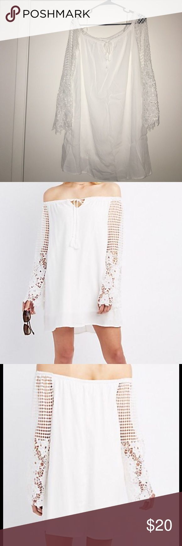 Off the shoulder crochet sleeve dress True to size, white. Off the shoulder area is stretchy, sleeves are crochet, bell Charlotte Russe Dresses Long Sleeve