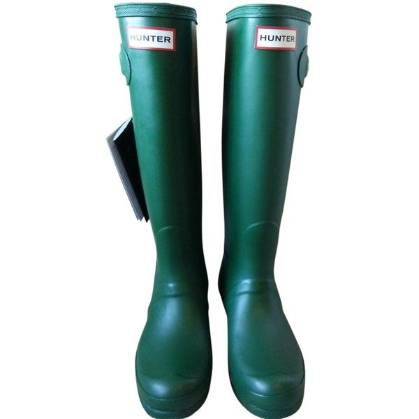 Pre-owned Hunter Tall Matte Rain Green Boots ($140) ❤ liked on Polyvore featuring shoes, boots, green, tall boots, tall rain boots, green wellington boots, green knee high boots and rubber sole boots