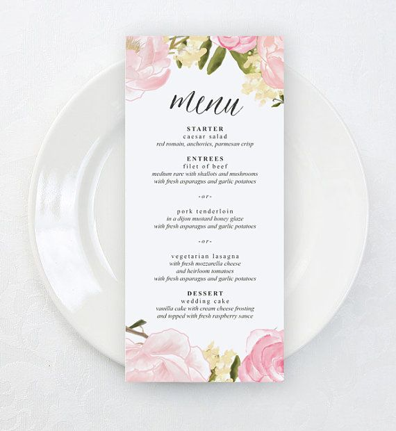 13 best Wedding Menus images on Pinterest Wedding menu cards - dinner party menu template