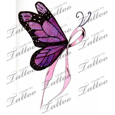 Cancer Ribbon Tattoo Designs | Marketplace Tattoo Breast Cancer Ribbon Butterfly Createmytattoocom