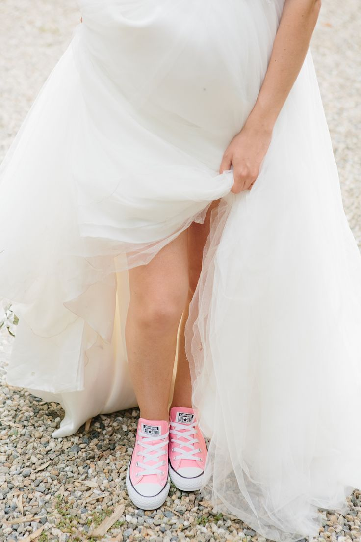 pink converse for the bride