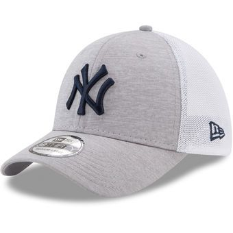 Men's New York Yankees New Era Heathered Gray/White Tech Sweep 39THIRTY Flex Hat