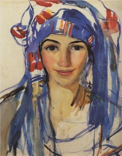 Автопортрет в шарфе - Зинаида Серебрякова