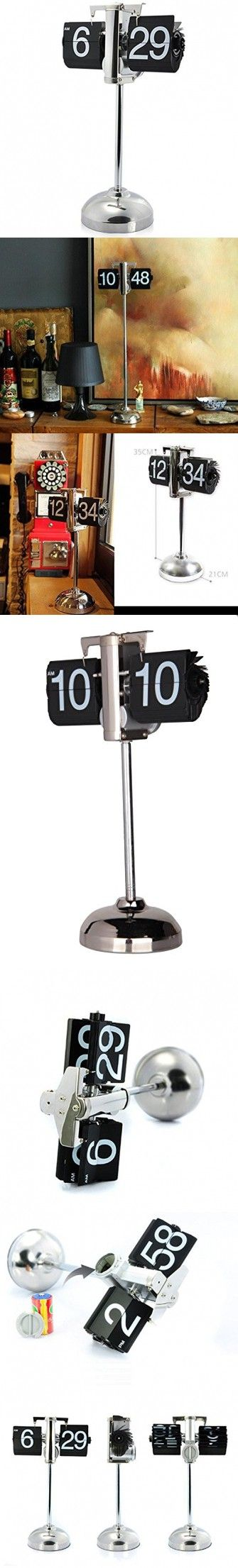 Niceeshop(TM) Vintage Retro Internal Gear Operated Flip Down Clock Desktop Clock For Home Decor,Black