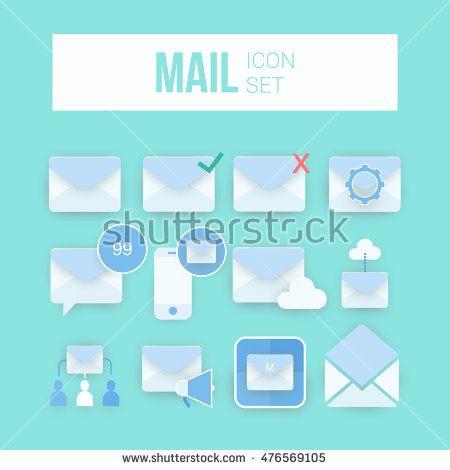 Envelope Mail icon set, vector illustration. Flat design style