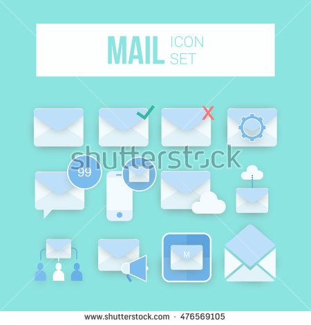 Envelope Mail icon set, vector illustration. Flat design style