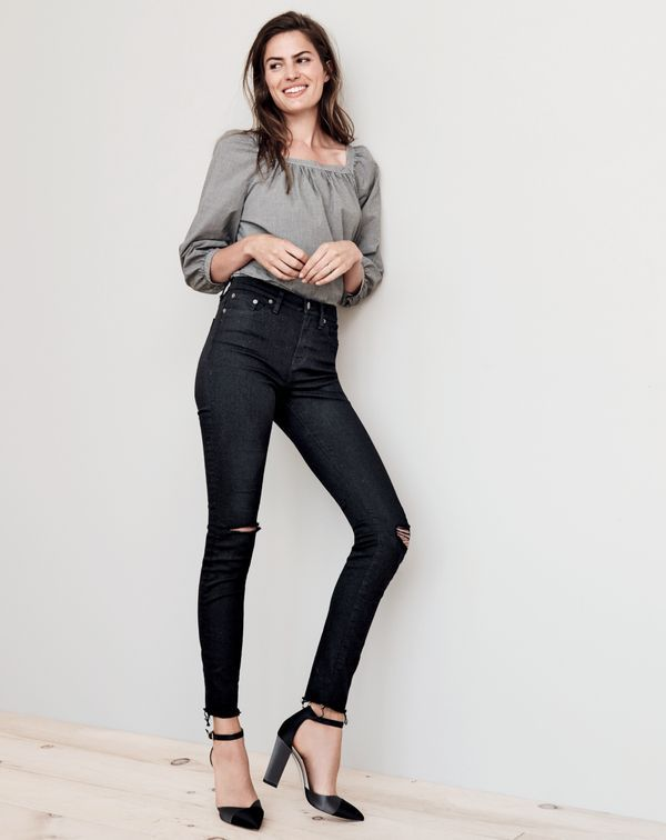 J.Crew women's Penny top in microgingham, distressed lookout high-rise jean in true black and satin colorblock pumps in black.