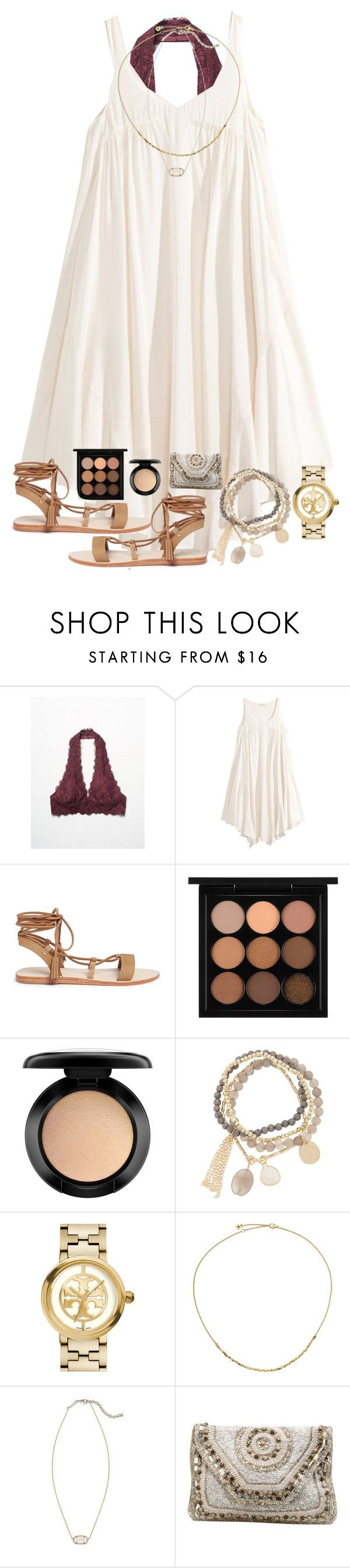"""day 90: happy for fun teachers"" by adellee-b ❤ liked on Polyvore featuring Free People, H&M, Pedder Red, MAC Cosmetics, DesignSix, Tory Burch, Astley Clarke, Kendra Scott and Antik Batik"