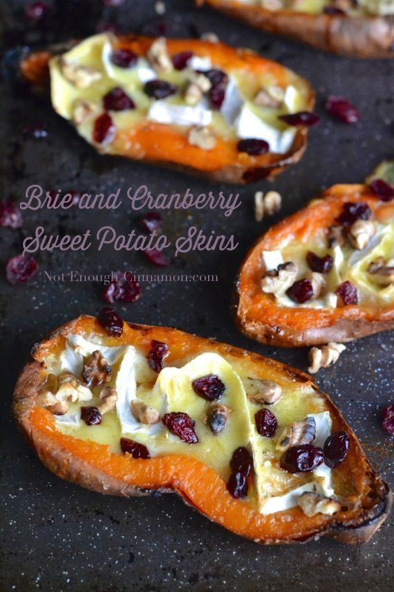 Brie and Cranberry Sweet Potato Skins - Not Enough Cinnamon.com #recipe #holidays #glutenfree