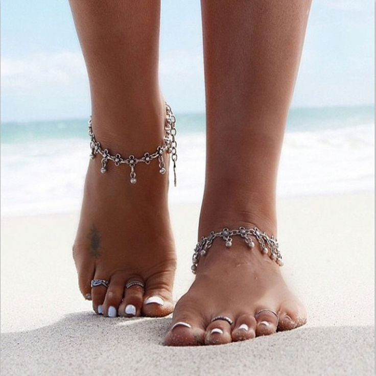 2016 Summer Style Bohemian Gypsy Turkish Tribal Boho Silver Coin Anklet Ankle Bracelet Boho Foot Jewelry