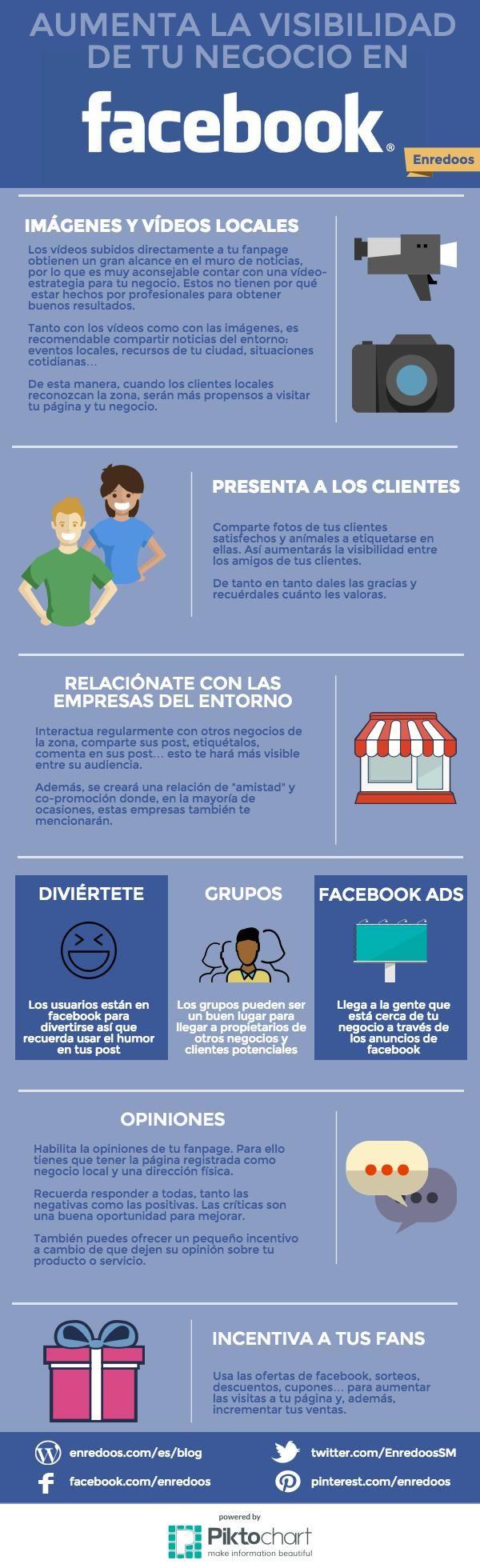 Hola: Una infografía que dice: Aumenta la visibilidad de tu empresa en Facebook. Vía Un saludo