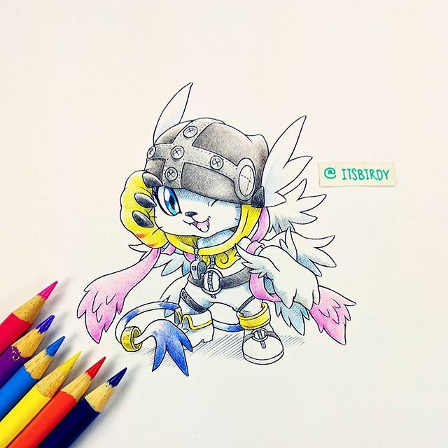 #Gatomon wearing a #Angewomon onesie =). #digimon #crayola #illustration