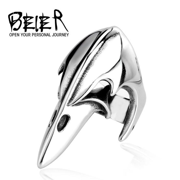 BEIER Gothic Long Amor Ring For Man Stainless Steel Biker Man's Animal Bird Beak Ring Jewelry Biker Punk Style  BR8-029