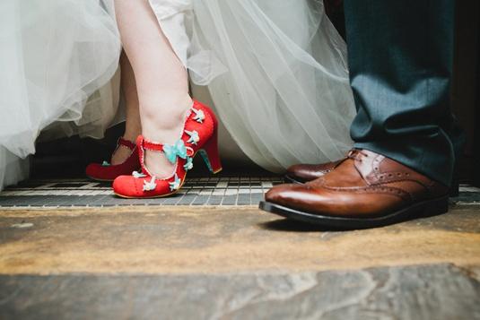 Red Irregular Choice shoes for a rockabilly wedding