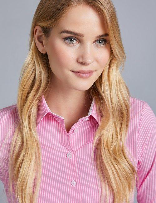 0505da7b15d969 Women's Executive Pink Twill Semi Fitted Shirt - Single Cuff | mtren ...