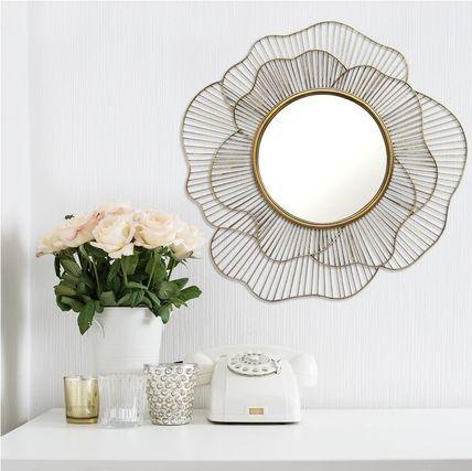 インテリア雑貨・DIYその他 バラの花モチーフゴールドラウンドウォールミラー壁掛け鏡