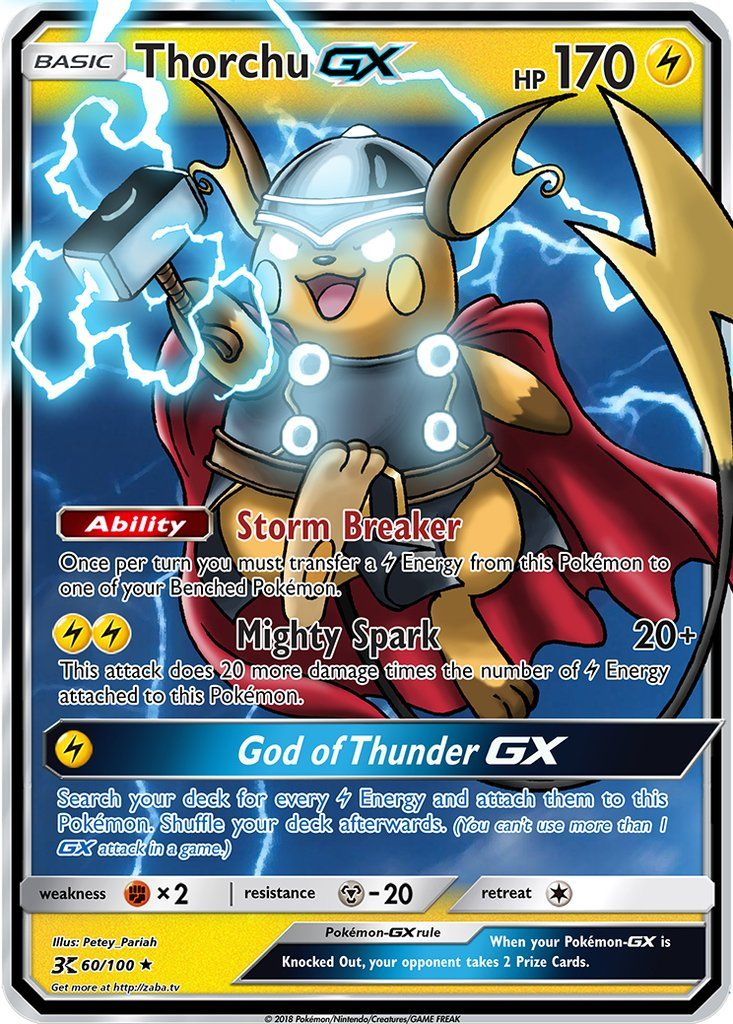 Thorchu Gx Custom Pokemon Card Pokemon Cards Legendary Funny Pokemon Cards Cool Pokemon Cards