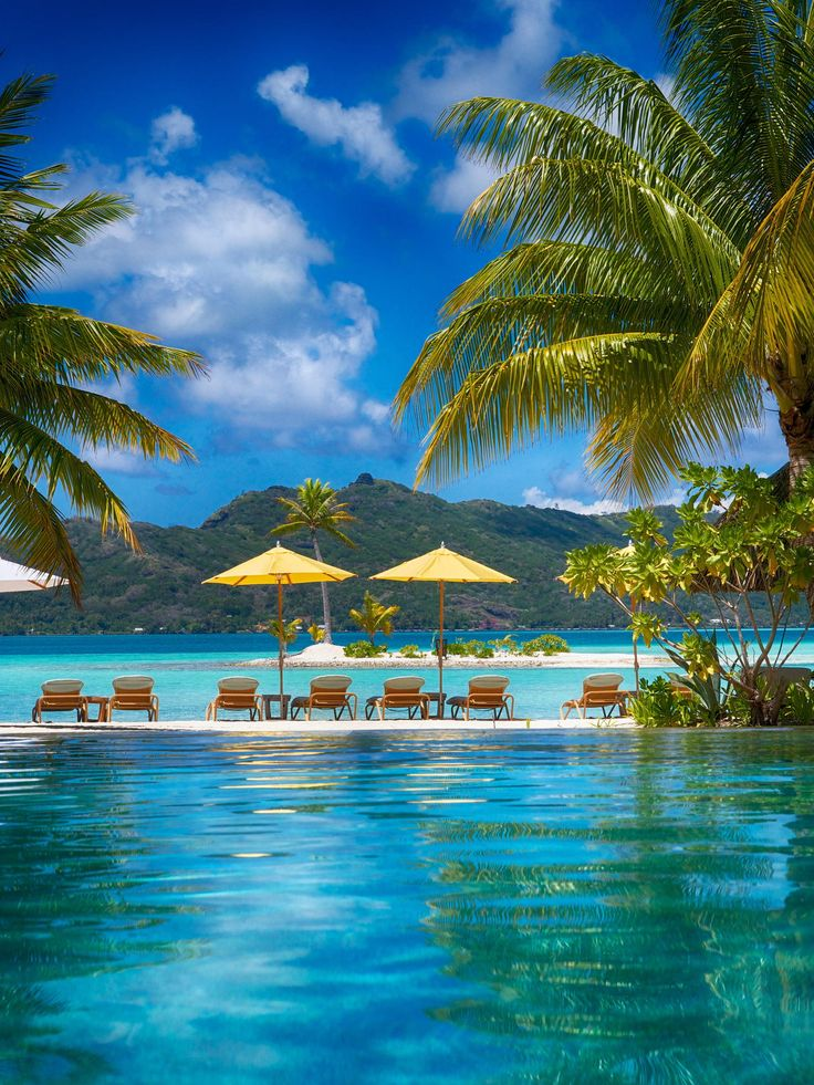 By the pool and the lagoon in bora bora, Tahiti