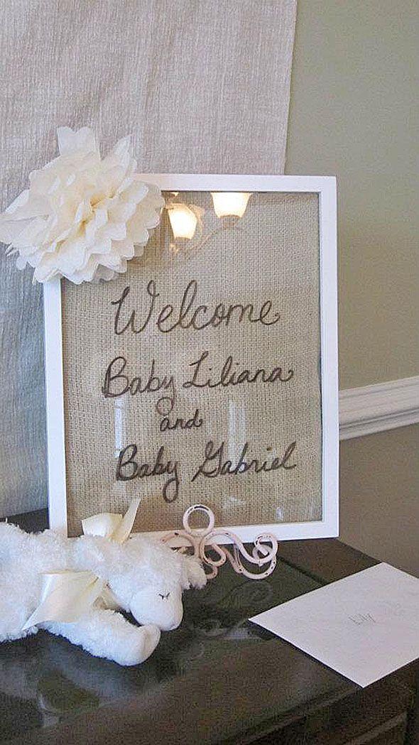burlap welcome sign framed