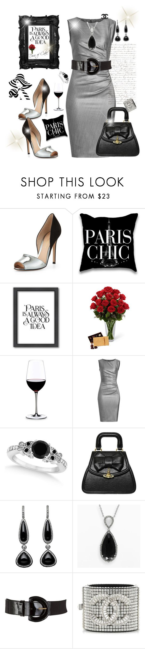 """Grey and black outfit Paris the moment"" by Diva of Cake on Polyvore featuring Gianvito Rossi, Americanflat, Riedel, MaxMara, Allurez, Vivienne Westwood, Lavish by TJM and John Lewis"