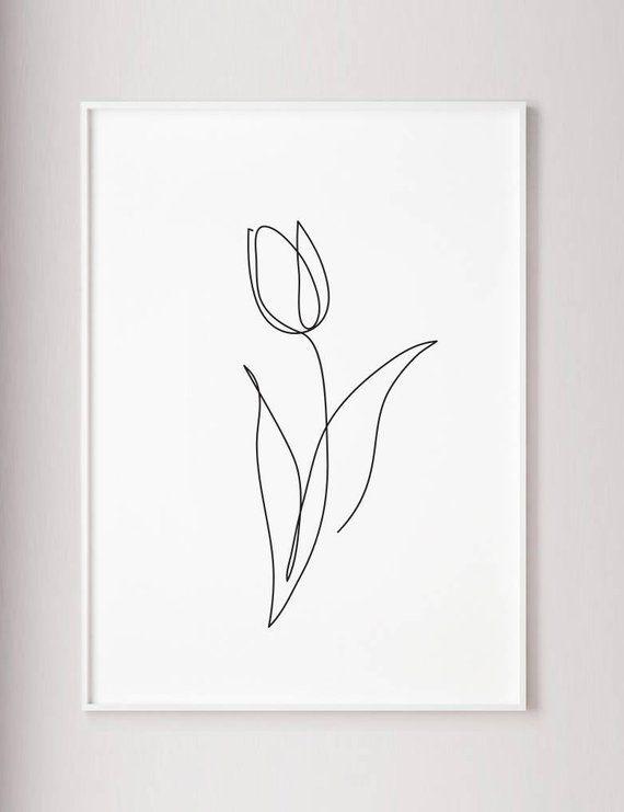 Tulpendruck Blumenwandkunst Tulpe eine Linie Kunst Zusammenfassung