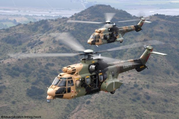 """Chilean army took delivery in December of its tenth Airbus H215M helicopter. In 2008, the country had ordered 8 Airbus helicopters and then completed its application with two additional aircraft.Airbus H215M ex: Eurocopter AS532 """"Cougar / Super Puma"""" is a twin-engine, medium-weight. In 1990, all Super Puma military designations were changed from """"AS 332"""" to """"AS 532 Cougar"""" to distinguish the civilian and military variants of the helicopter.AS 532 UL / AL is the long version of the Cougar…"""