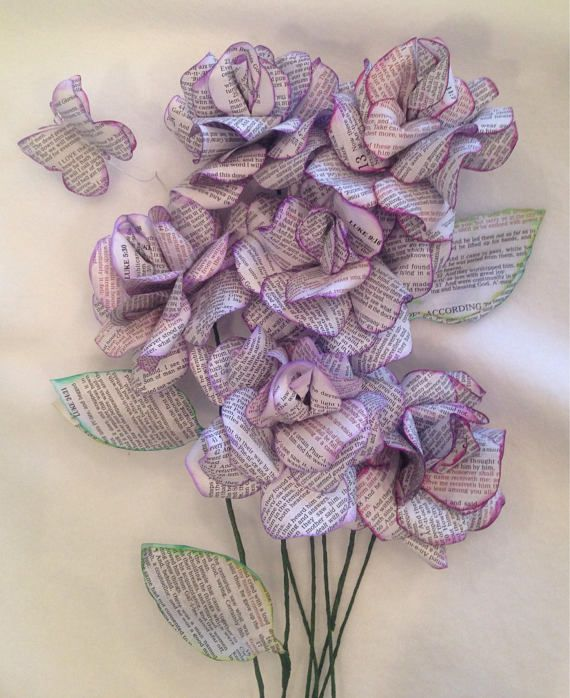 6 beautifully handcrafted custom roses delivered to you or directly to your loved ones door! Made from pages from both the KJV and the NIV Bible with the words of Jesus Christ in red, these flowers are hand cut and crafted to highlight the truth of the scriptures. Roses are made