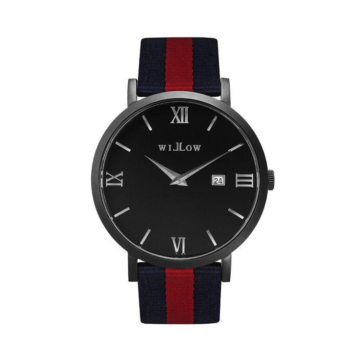 Verona Matte Black Watch & Interchangeable Navy Blue & Red Nato Strap.